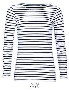 Women´s Long Sleeve Striped T-Shirt Marine SOL´S 01403