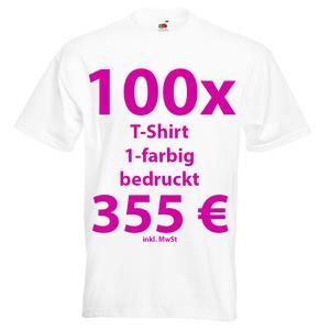 100 weiße bedruckte T-Shirts Siebdruck T-Shirts bedrucken T-Shirt